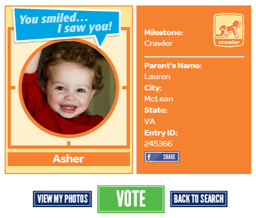 of a friend we entered Asher into the Gerber Photo Search 2013 contest